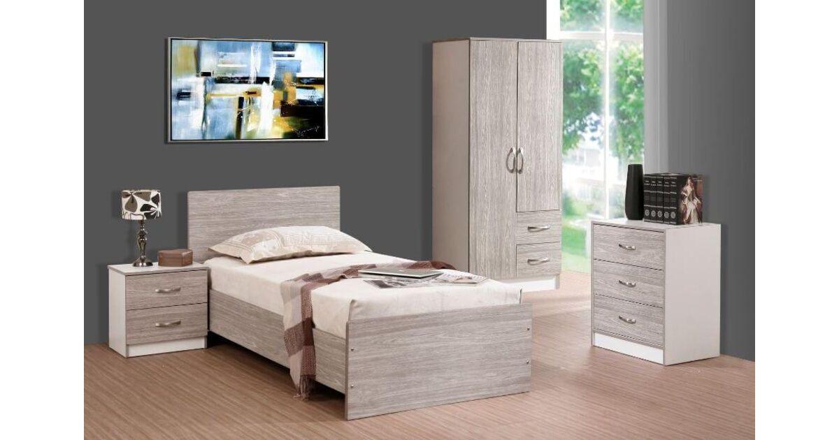 marina 3 piece bedroom set grey oak gloss white ash. Black Bedroom Furniture Sets. Home Design Ideas