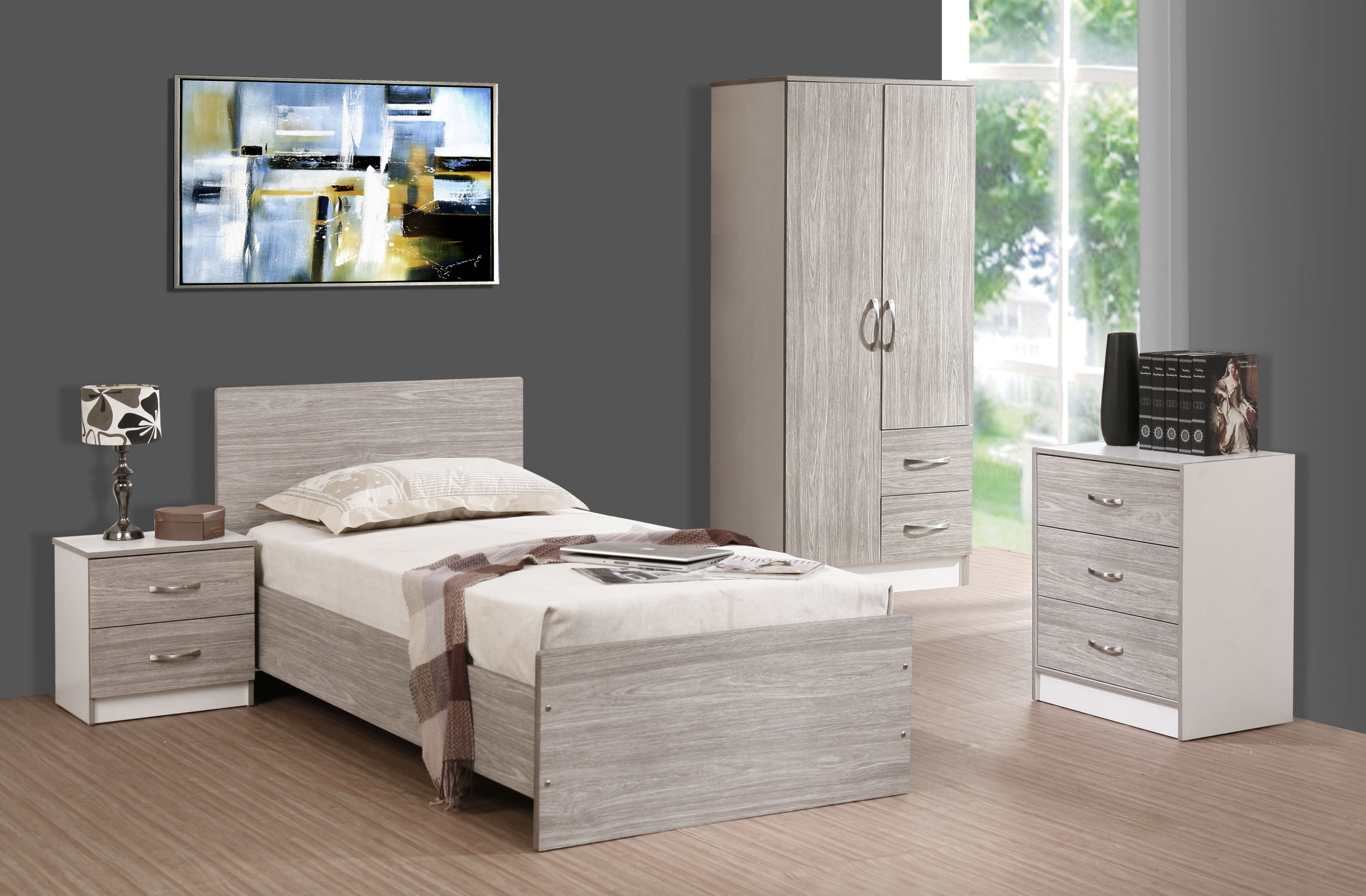 Marina 5 Piece Bedroom Set Grey Oak Gloss & White Ash