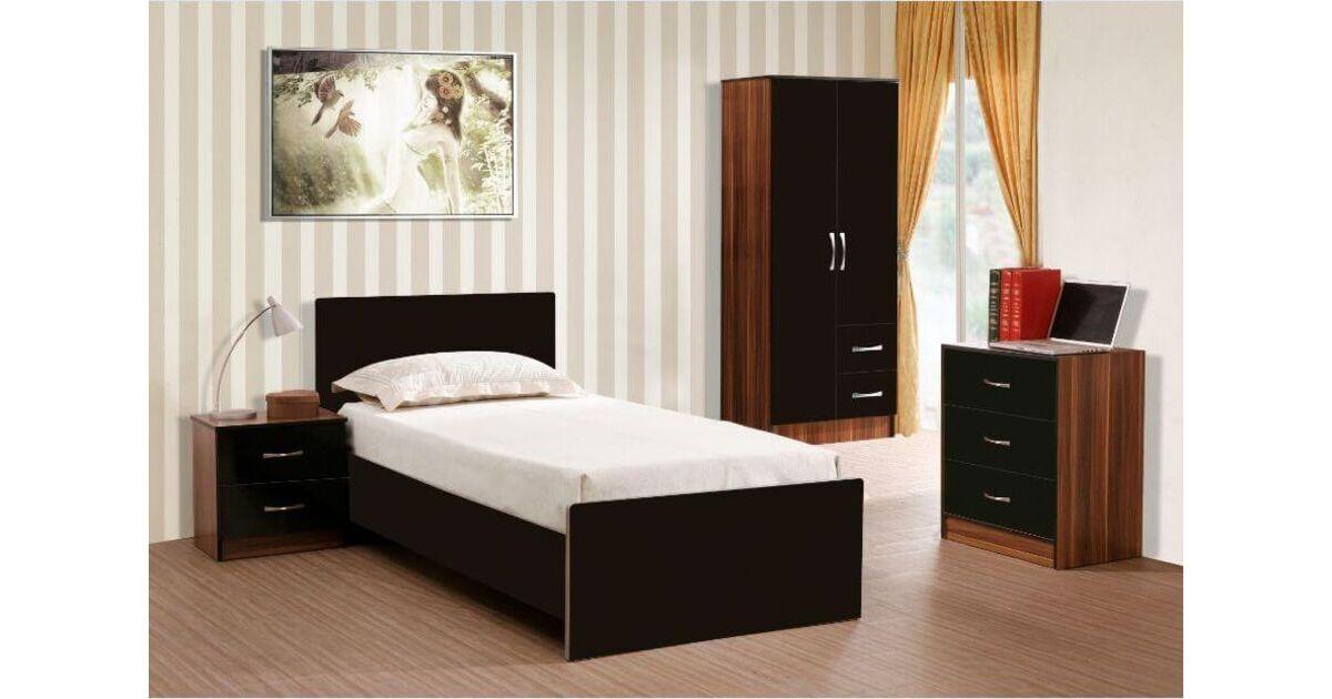 Marina 3 Piece Bedroom Set Black Gloss French Walnut