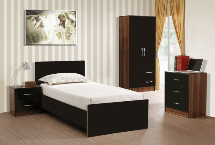 Marina 3 Piece Bedroom Set Black Gloss & French Walnut