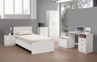 Marina 5 Piece Bedroom Set White Gloss & White Ash