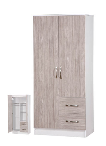 Marina 2 Door Combi Wardrobe Grey Oak Gloss & White Ash