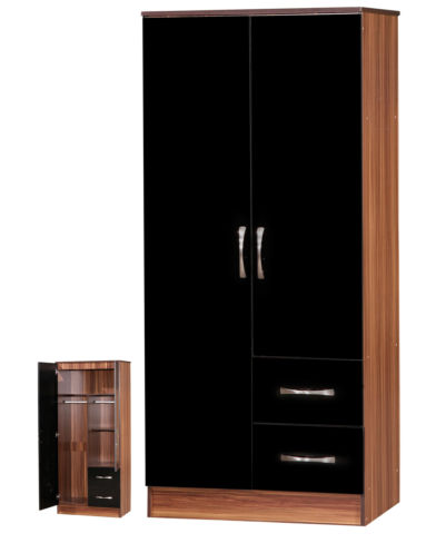 Marina 2 Door Combi Wardrobe Black Gloss & Walnut