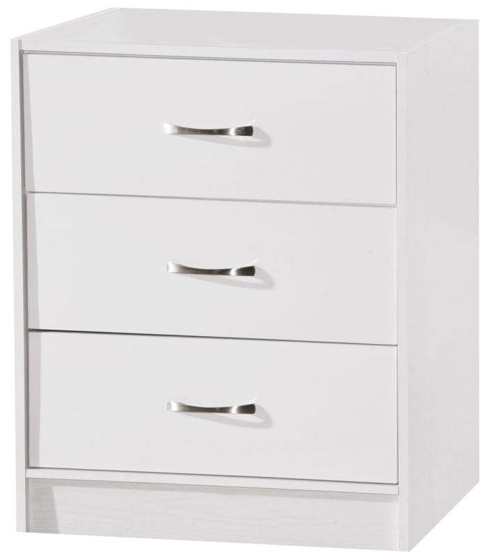 Marina Chest of 3 Deep Drawers White Gloss & White Ash