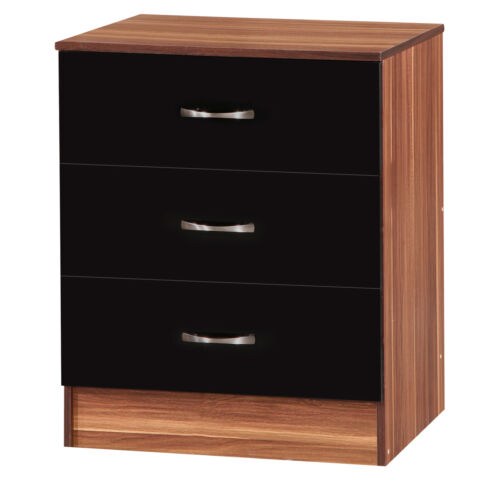 Marina Chest of 3 Deep Drawers  Black Gloss & French Walnut