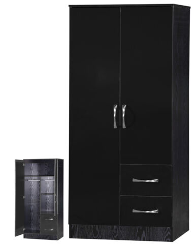 Marina 2 Door Combi Wardrobe Black Gloss & Black Ash