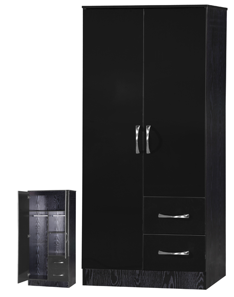 newest 6c316 2779d Marina 2 Door Combi Wardrobe Black Gloss & Black Ash