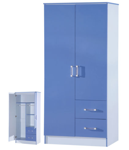 Marina 2 Door Combi Wardrobe Blue Gloss Two Tone