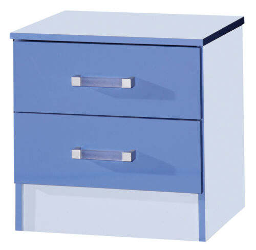 Marina 2 Drawer Bedside Cabinet Blue Gloss Two Tone