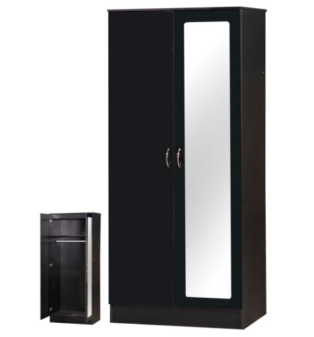 Alpha Black Two Tone 2 Door Double Wardrobe Mirrored
