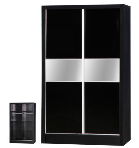 Alpha Black Two Tone 2 Door Sliding Wardrobe Mirrored