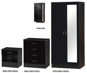 Alpha Black Gloss Two Tone 3 PIECE SET MIRRORED