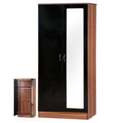Alpha Black & Walnut 2 Door Double Wardrobe Mirrored