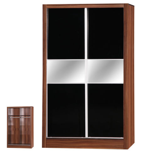 Alpha Black & Walnut 2 Door Sliding Wardrobe Mirrored