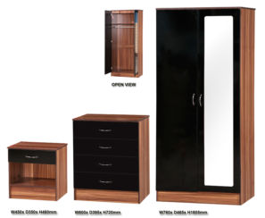 Alpha Black & Walnut 3 PIECE SET  MIRRORED