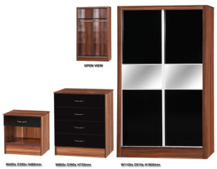 Alpha Black & Walnut 3 PIECE SET SLIDER