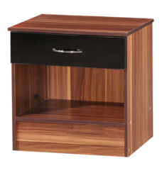 Alpha Black & Walnut Bedside Cabinet