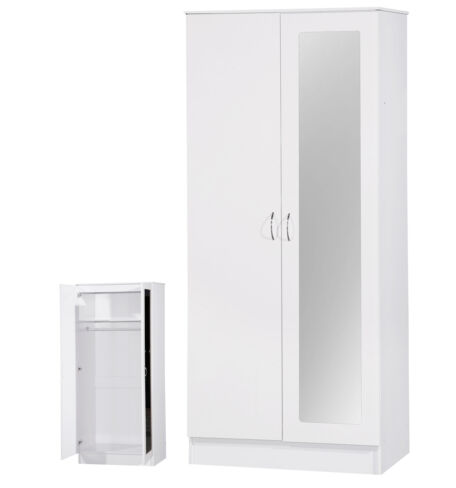 Alpha White Two Tone 2 Door Double Wardrobe Mirrored