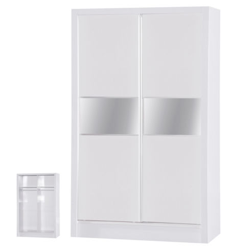 Alpha White Two Tone 2 Door Sliding Wardrobe Mirrored