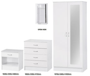Alpha 3 PIECE SET 2 DOOR MIRRORED WARDROBE White Gloss Two Tone