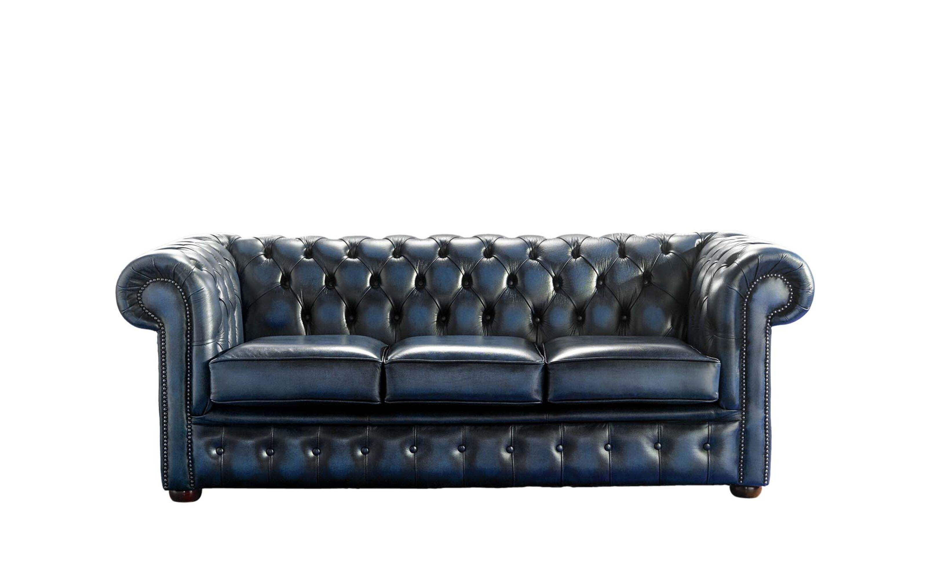 Chesterfield 3 Seater Blue Leather Antique Sofa | Sofa Offers