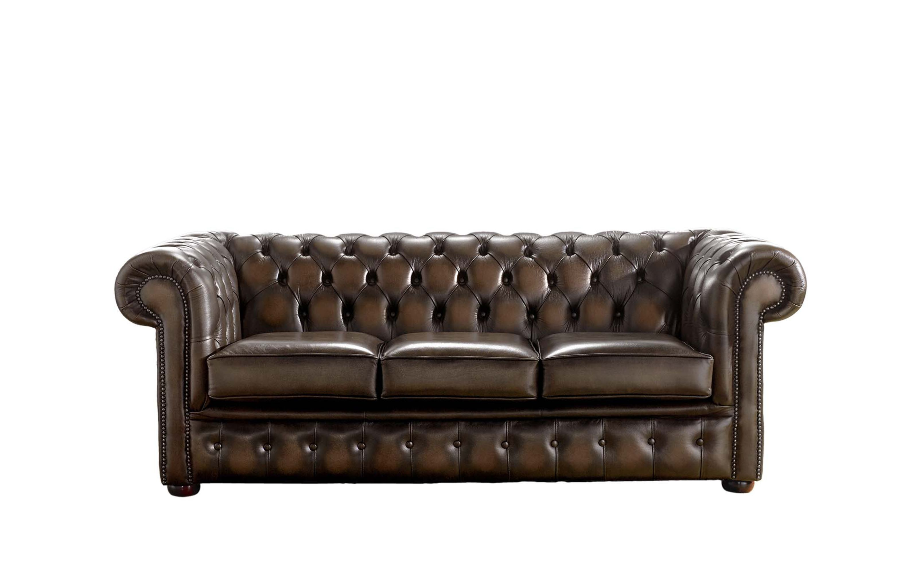 3 Seater Antique Tan Leather Chesterfield Sale