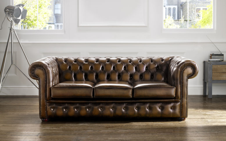 DesignerSofas4U | Buy 3 seater tan leather Chesterfield