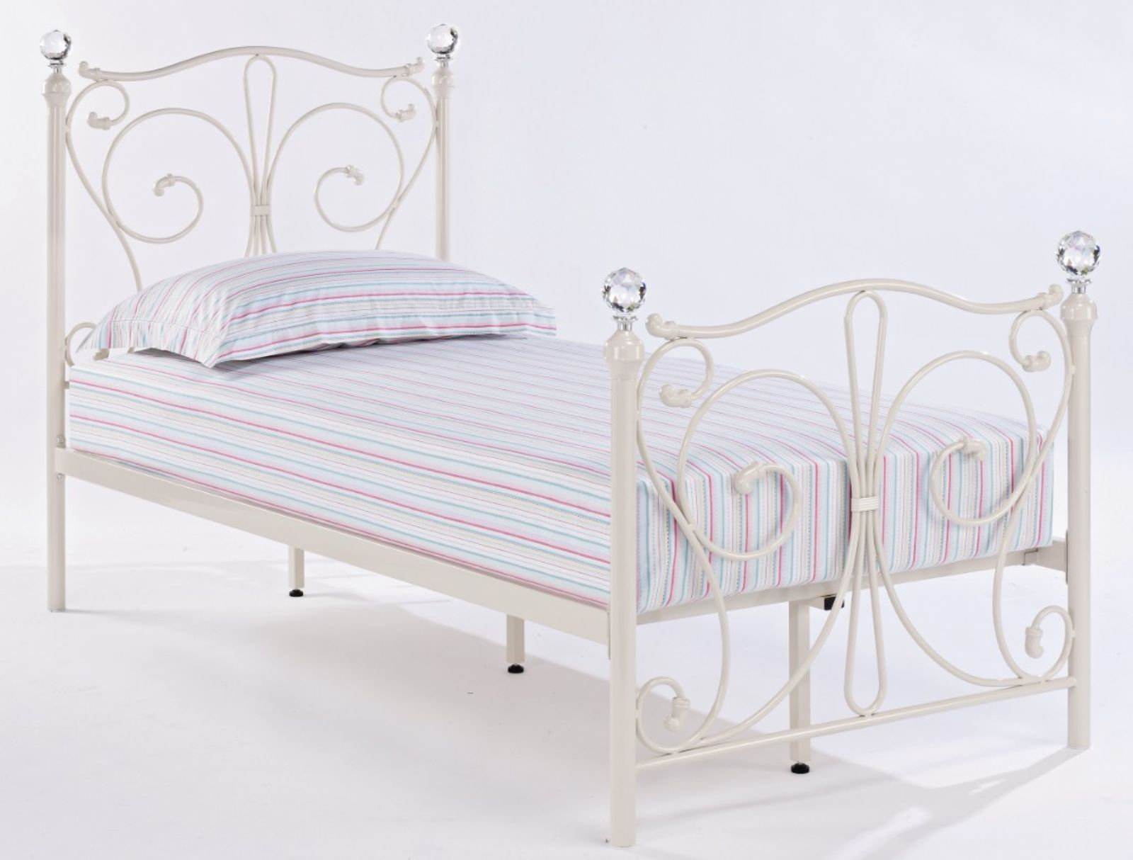 Florence Single White Metal Bed