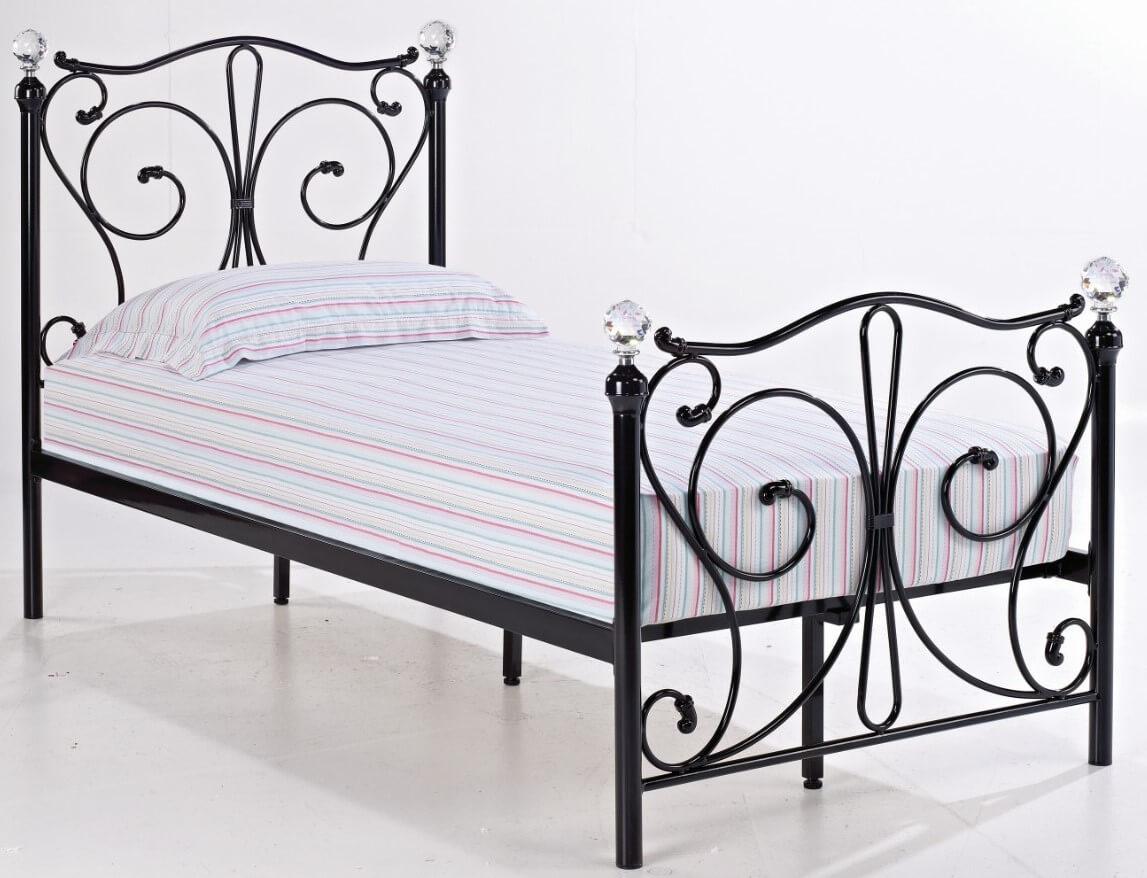 Fabio 3 0 Single Bed With Black Metal Frame Designer Sofas4u