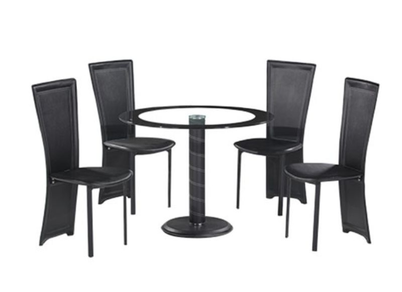 Lenora Round Dining Set – Black