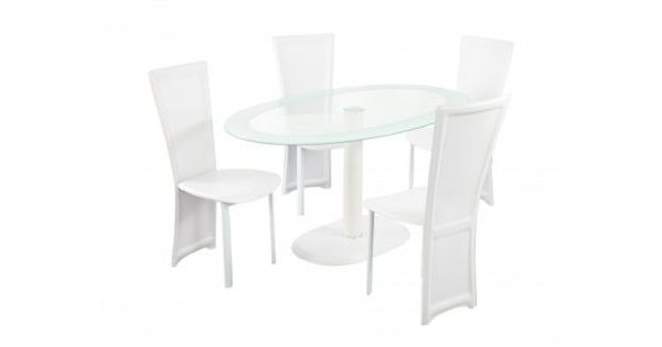 Lenora Oval Dining Set – White