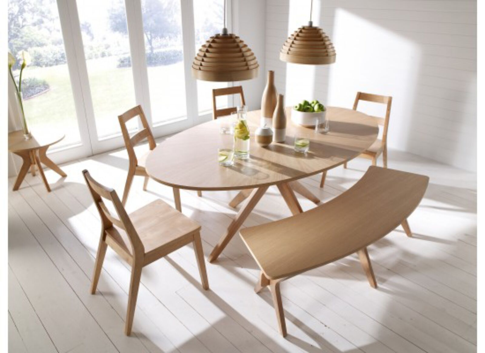 Malmo White Oak Wood Dining Table