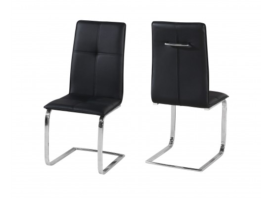 Halen Black Faux Leather And Chrome Legs Dining Chairs Set Of 2 Designer Sofas4u