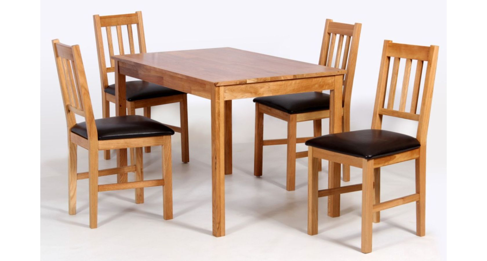 Hyde Dining Table in Solid Oak finish with 4 Solid Oak Chairs
