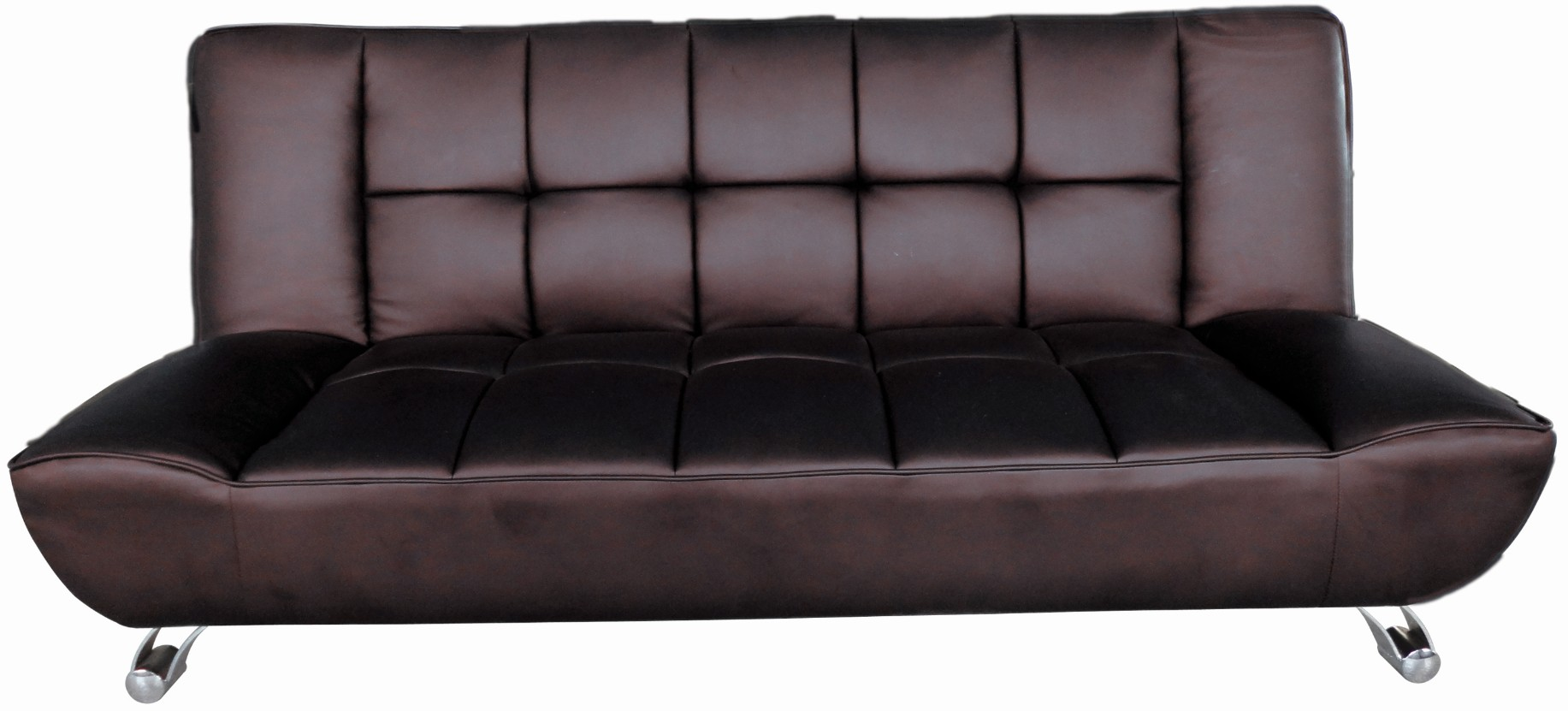 vogue faux leather brown sofa bed. Black Bedroom Furniture Sets. Home Design Ideas