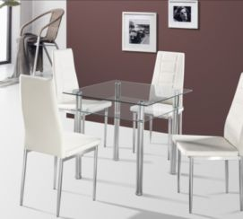Como Dining Table with Clear Glass