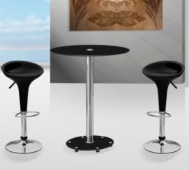 Parma Black Table with black Classic Bar Stools