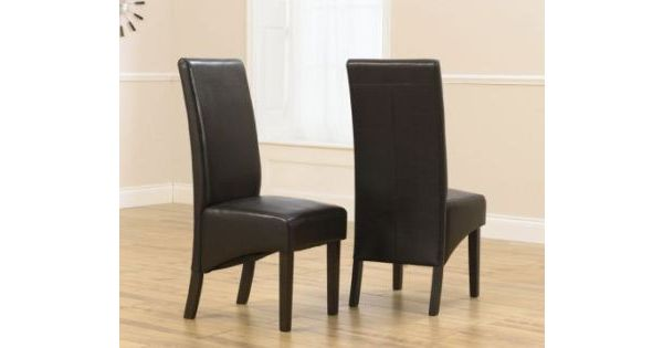 Ambrosi Faux Leather Dining Chair In Brown With Dark Brown Legs Set Of 2 Designer Sofas4u