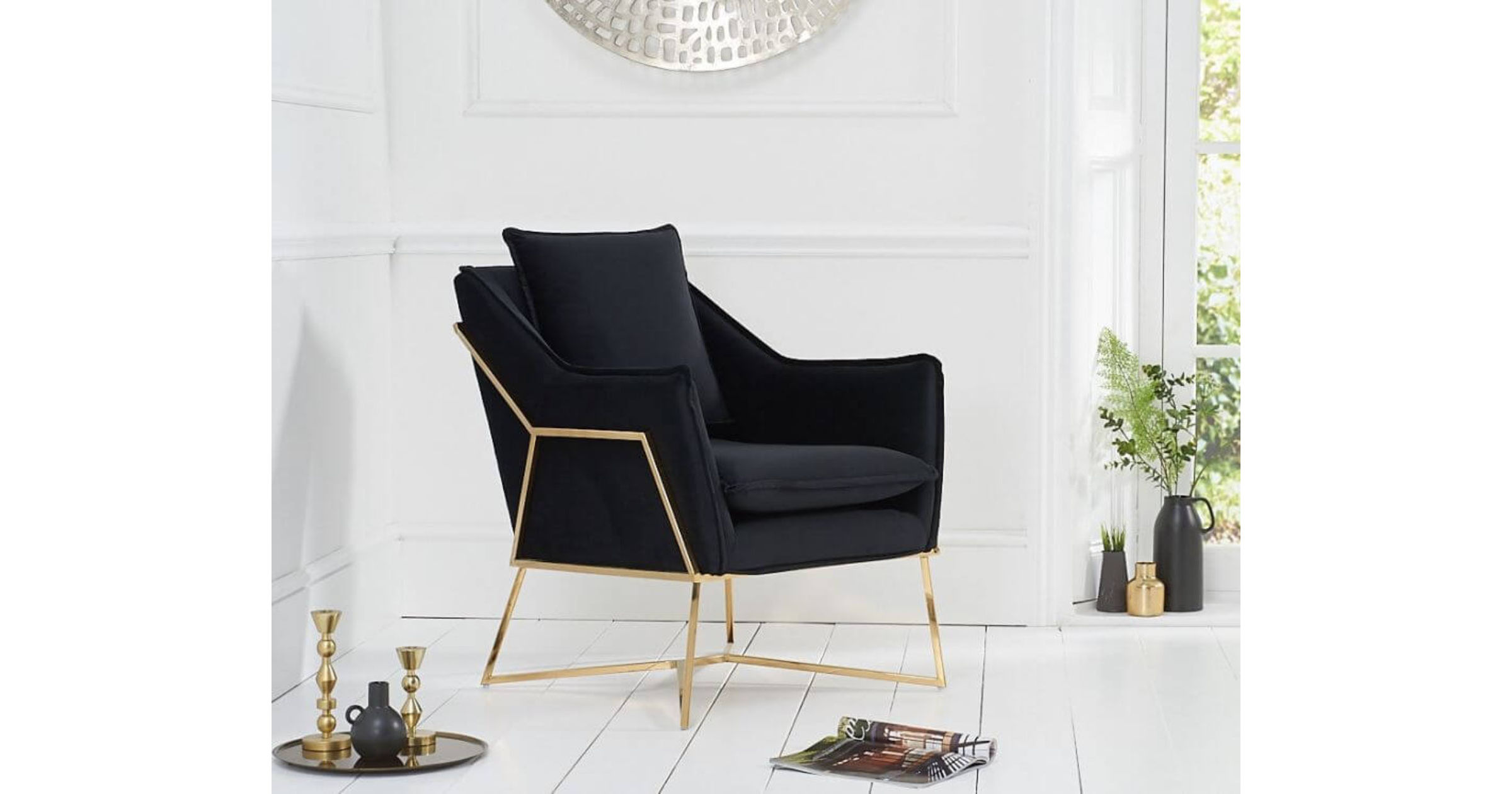 Picture of: Ame Black Velvet Accent Chair With Metal Legs Designer Sofas4u