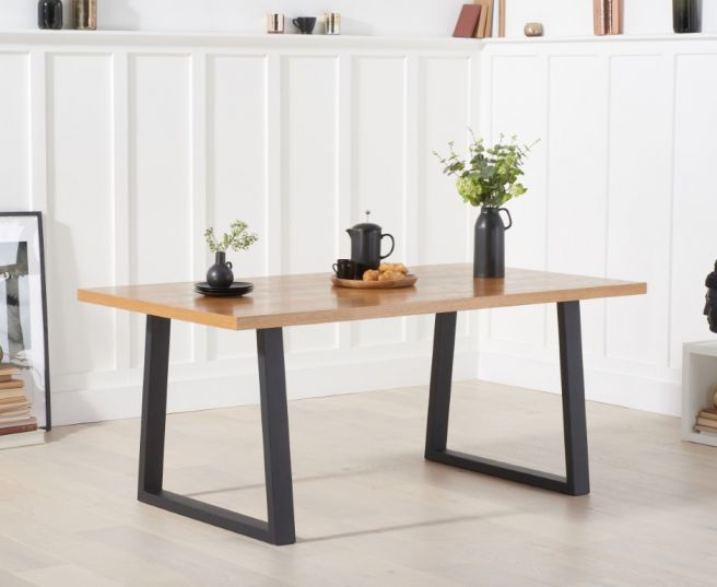 Ariana 180cm Solid Oak Top Dining Table, Dining Room Table Metal Legs