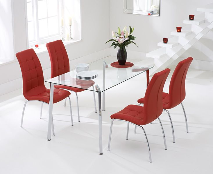 Beck 130cm Glass Dining Table With 4 Red California Chairs Designer Sofas4u