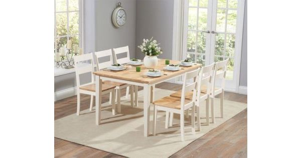 Carina 150cm Oak And Cream Dining Table, Cream Coloured Kitchen Table And Chairs