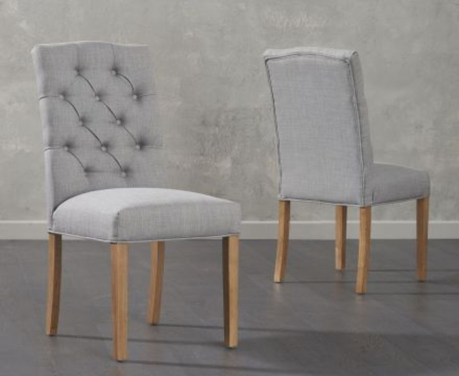 Georgio Grey Fabric Dining Chair With, Grey Fabric Dining Chairs With Arms