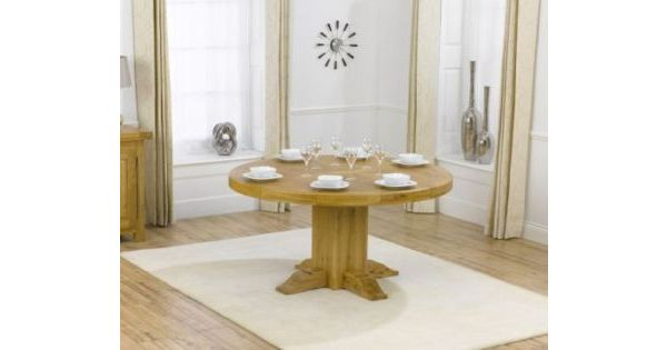 Matteo Solid Oak Round Dining Table With A Waxed Finish Designer Sofas4u