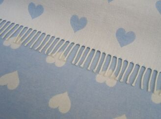 Blue Heart Wool Baby Blanket Throw Blue White Lambswool