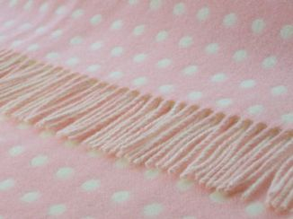 Candy Pink Spot Wool Blanket Throw Lambswool