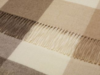 Check Alpaca Wool Throw Natural Camel Check