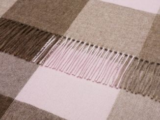 Check Alpaca Wool Throw Natural Chocolate/Pink Check