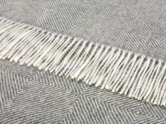 Herringbone Alpaca Throw Natural Grey Diamond