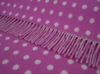Peony Violet Spot Wool Blanket Throw Lambswool